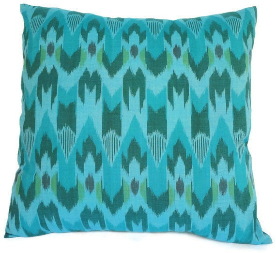 Ikat, Pillow, Cushion, Cotton, Handwoven, 16x16, Turquoise