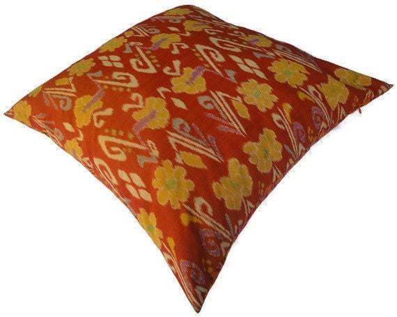 Ikat Floor Pillow, 26x26, Reversible, Orange