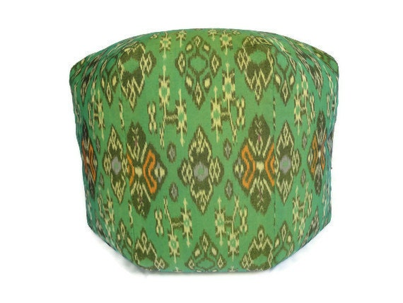 "20"" Pouf Bean Bag, Ikat Pillow, Green"