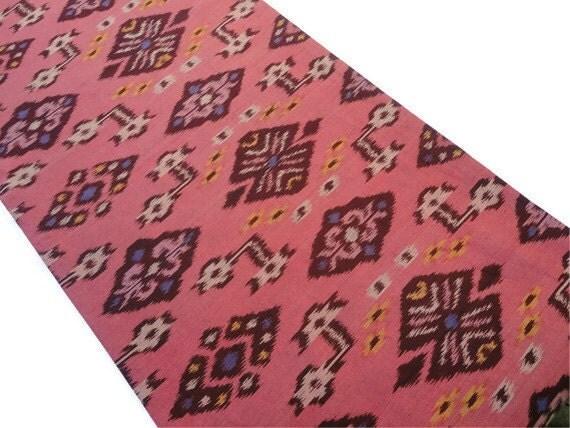 Ikat Table Runner, Reversible, 14x64, Coral