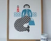 Mermaid screenprint in blue and grey