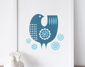 Teal daisybird screenprint
