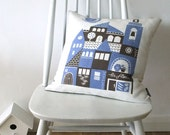 On Sale ... Siesta linen cushion in periwinkle blue and chocolate