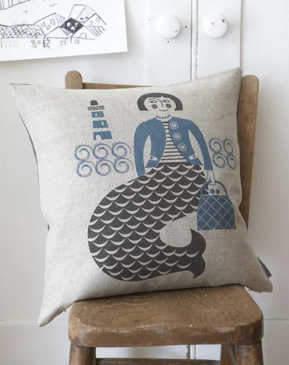 Mermaid cushion in blue and grey on natural linen