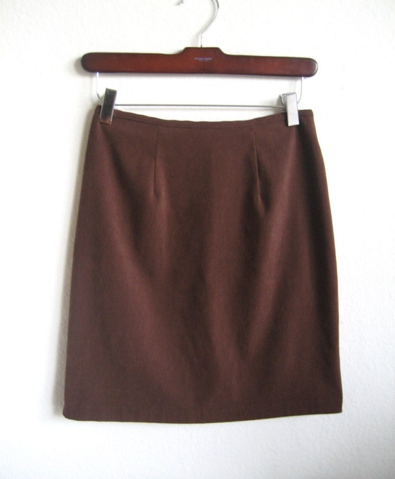 mad chocolate brown pencil skirt s m