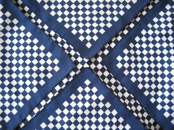 CHECKMATE Navy and White Checkered Scarf