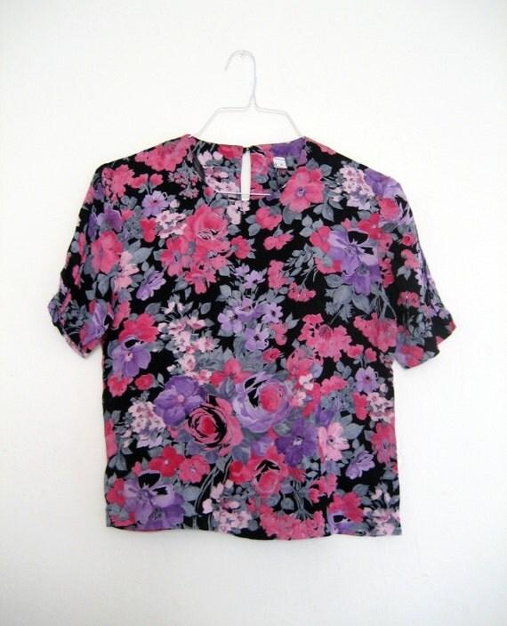 FLORAL CRUSH Rose Print Blouse S/M
