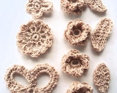 Victorian Style ecru color crochet assortment flowers, leaves, motif and butterfly