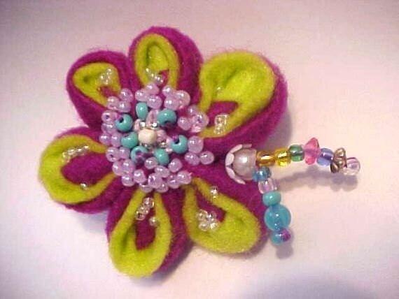 100% Animal Charity Donation....Mardi Gras Colors Felt Kanzashi Flower  Beaded Brooch, handmade