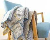 Handmade Children Blanket - ZigZag - Grandma sqares in new light - comes with free gift -  perfect new baby presnt and a keepsake