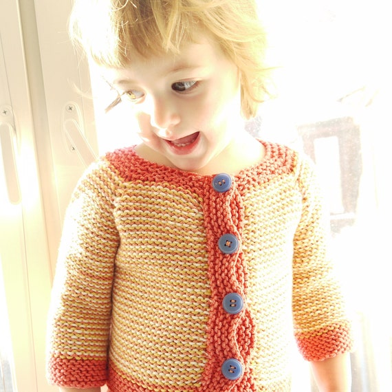 SALE - Hand Kitted Children Sweater - Inside-Out Sunny Cardigan - seamless design - wool-cotton yarn - OOAK