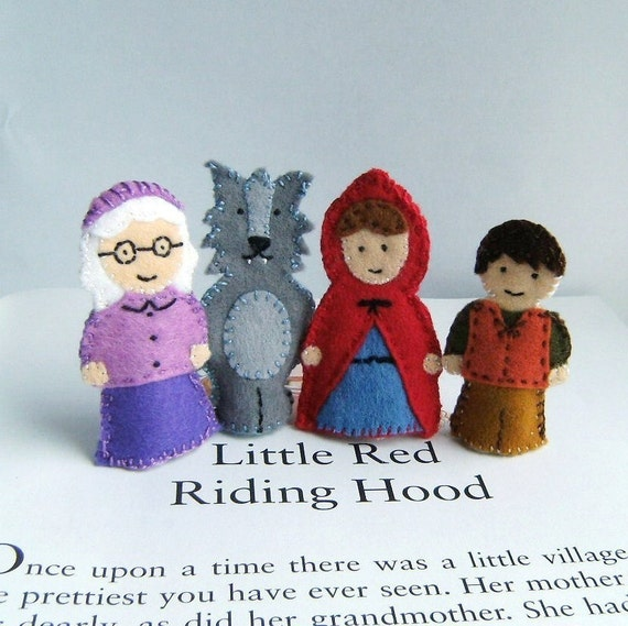 little red riding hood finger puppets finger puppet set by claraclips on etsy 7815
