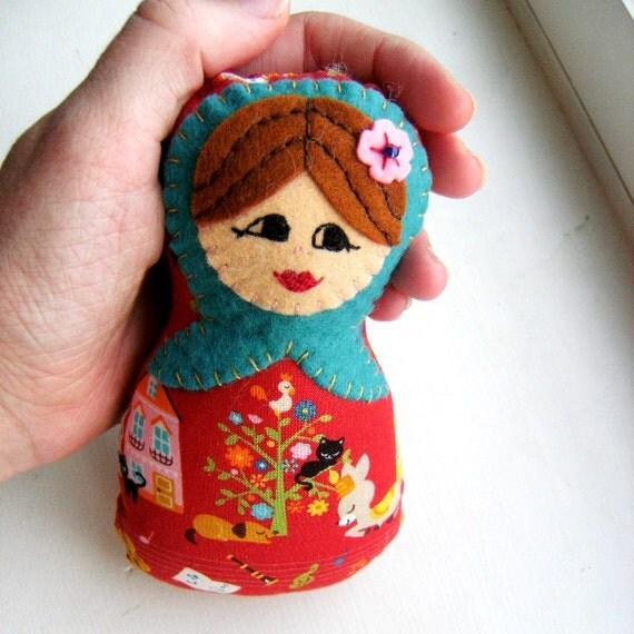 Marta Matryoshka Plush Felt and Fabric Nesting Doll - READY TO SHIP
