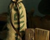 Wine and Coffee gift bag, handcrafted using coffee sacks