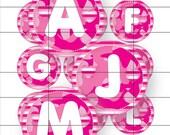 Bottle Cap Images -Pink Camo Letters - 1 inch circles