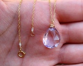 pink amethyst 14k gold-fill necklace