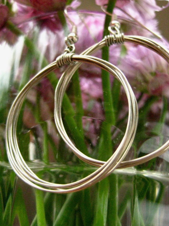 silver wrap hoop earrings.