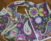 Paisley Baby Bib Burp Cloth Washcloth Set Purple Green SPECIAL ORDER ITEM
