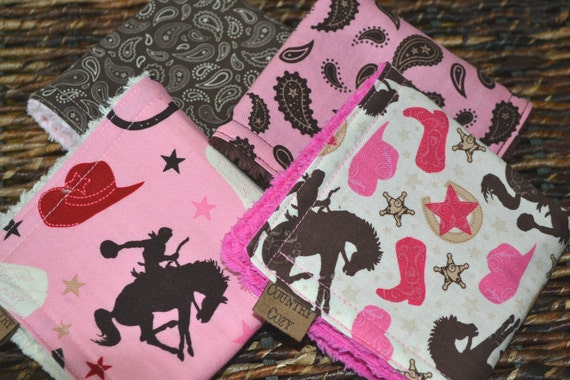Cowgirl Childrens Washcloths Pink Brown Set of 4