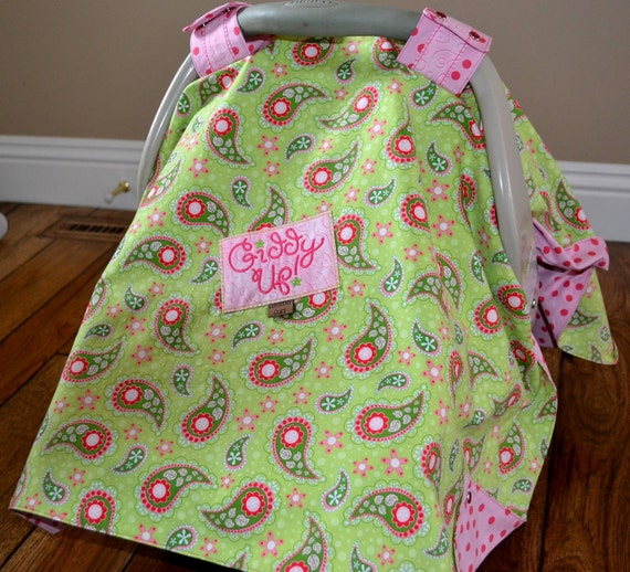 SALE. Western Cowgirl Car Seat Canopy Cover Pink Green