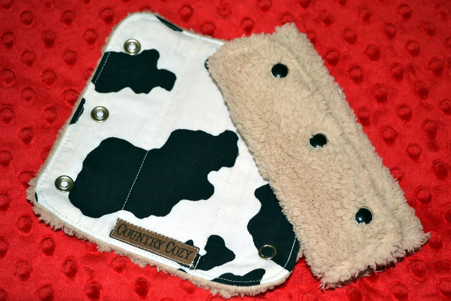 Western Baby Reversible Car Seat Strap Covers Cow Print