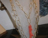 Coral Branch Necklace Set / Pendant and Long Chain
