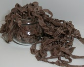 MOCHA BROWN  RIBBON crinkled vintage seam binding