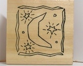 MOON and STARS in FRAME Rubber Stamp