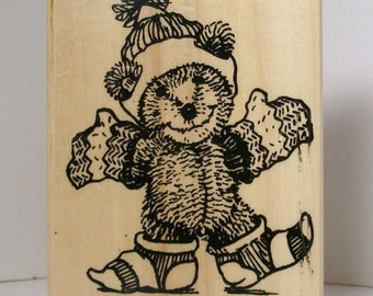 WINTER TEDDY BEAR Rubber Stamp