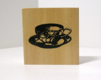 Vintage ANTIQUE TEACUP on SAUCER Rubber Stamp
