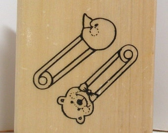 Two BABY DIAPER PINS Rubber Stamp Bear Duck