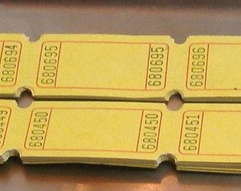 50 Carnival Tickets mustard yellow