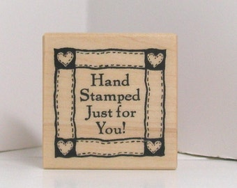 PSX HAND STAMPED Just For You Rubber Stamp quilt square