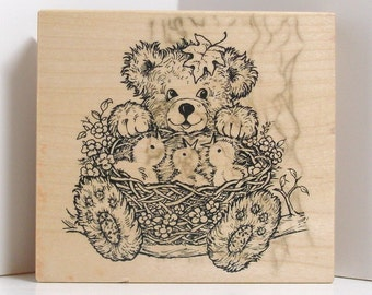 PSX Baby Fuzzy BEAR and Bird's NEST Rubber Stamp
