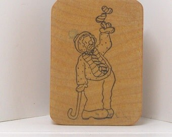 Sad Clown with Hearts Rubber Stamp