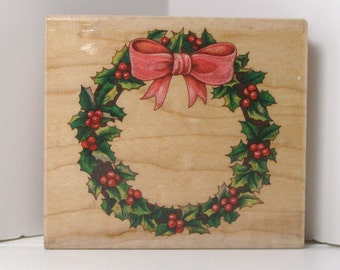 Holiday HOLLY WREATH Rubber Stamp