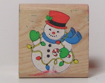 Snowman with Christmas Lights Rubber Stamp