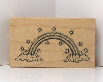 PSX Rubber Stamp RAINBOW with clouds and stars