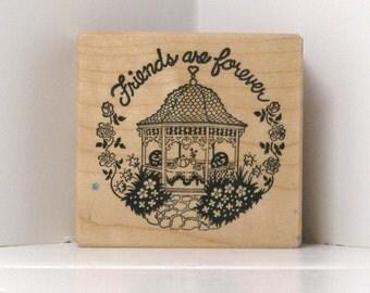 PSX Vintage Gazebo FRIENDS are Forever garden Rubber Stamp