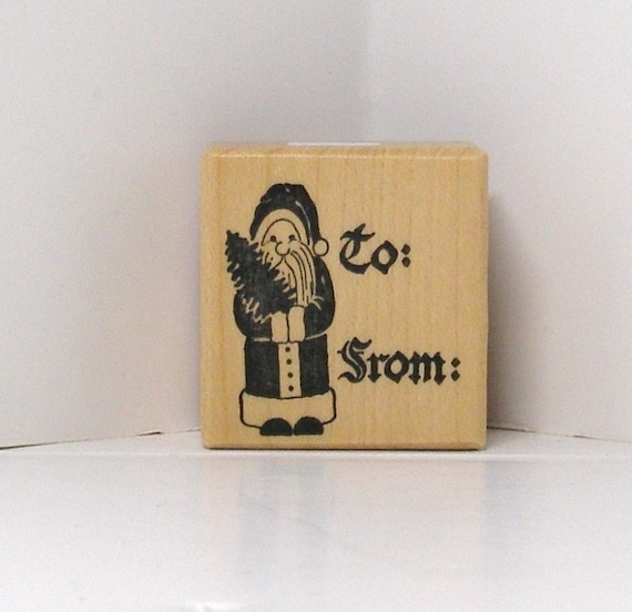 PSX Vintage SANTA to fromTAG Rubber Stamp Rare