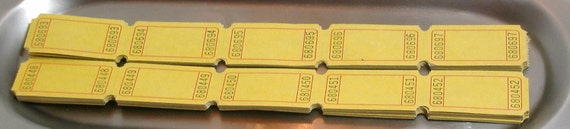 25 Carnival Tickets mustard yellow