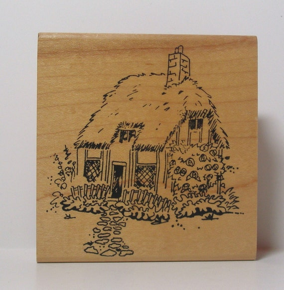 Country Cottage cabin Rubber Stamp