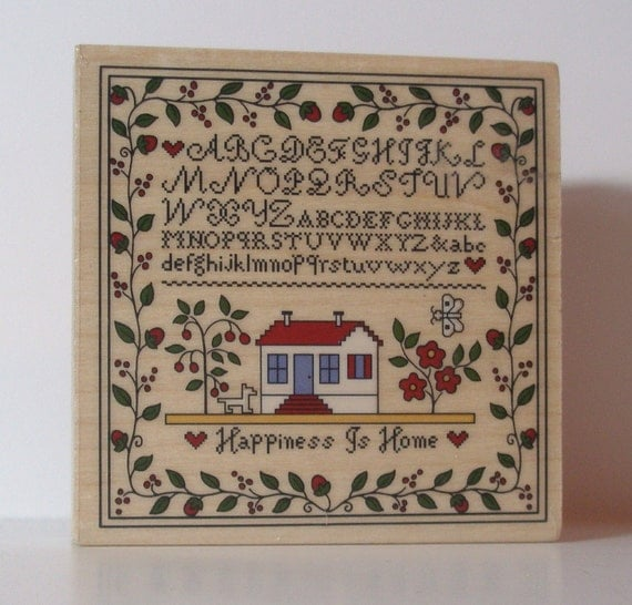 Country Sampler stitched Rubber Stamp
