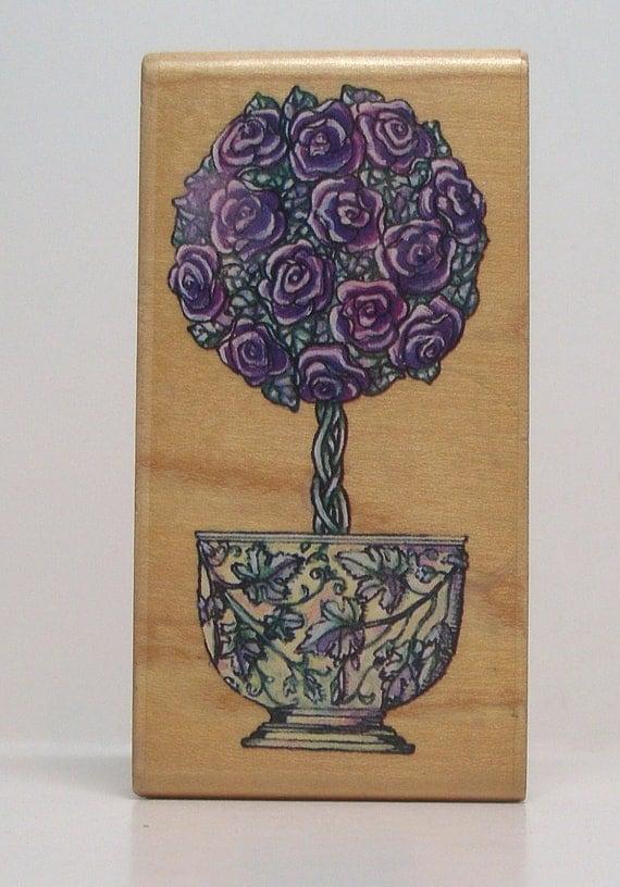 Rose Topiary in beautiful pot Rubber Stamp