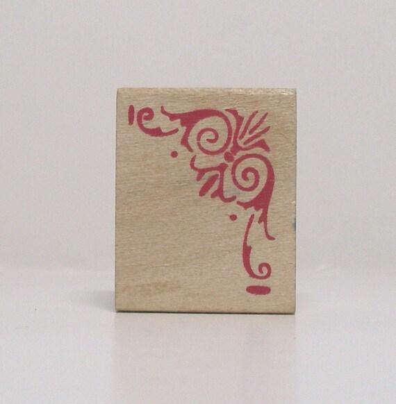 Ornate Corner Flourish Rubber Stamp