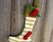 Mini Stocking Ornament-Green Striped