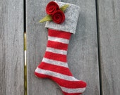 LAST ONE-Mini Christmas Stocking Ornament-Winter Grey and Holly Red Striped, Keepsake Ornament, Secret Santa, Felt Stocking