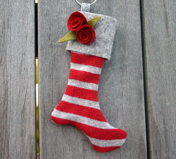 LAST ONE-Mini Christmas Stocking Ornament-Winter Grey and Holly Red Striped, Keepsake Ornament, Secret Santa, Felt Stocking