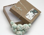 SALE Fabric Bead Cluster Pendant Necklace