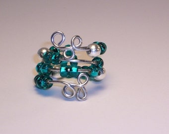 Ring, Worry  Beads, Deep Agua with Sterling Silver